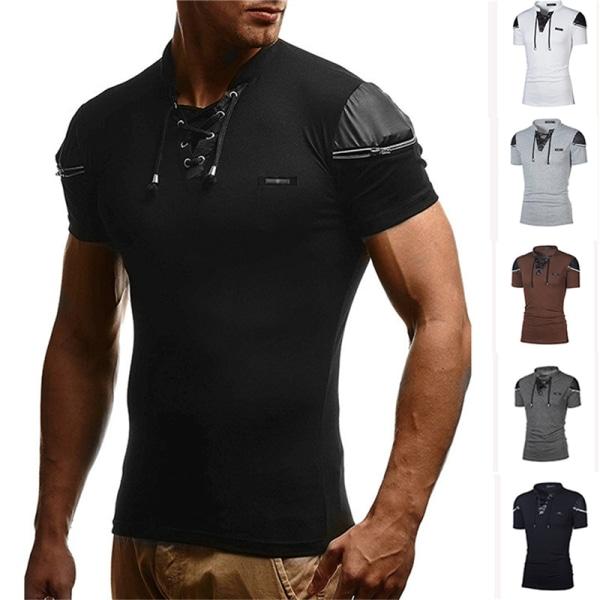 mens ihålig v-ringad t-shirt patchwork läder hip hop streetw White 2XL
