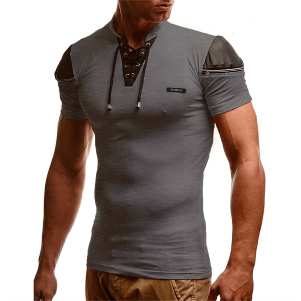 mens ihålig v-ringad t-shirt patchwork läder hip hop streetw Light Gray L