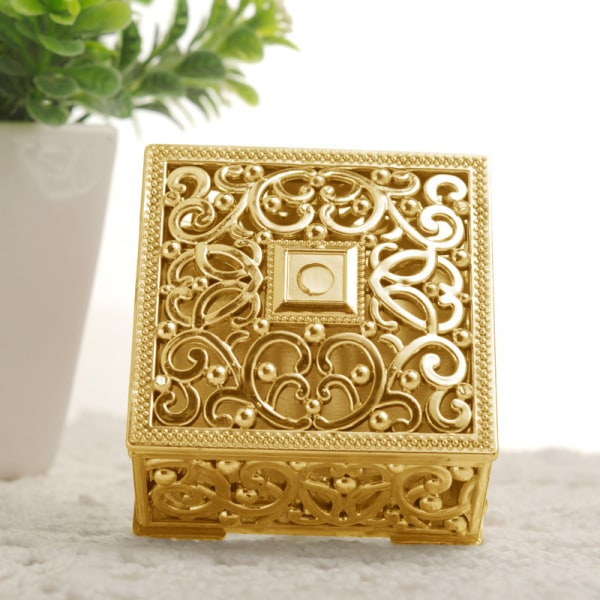 Mini Hollow Gold Folie Cake Candy Box Bröllopsfavör Babygåva Tre