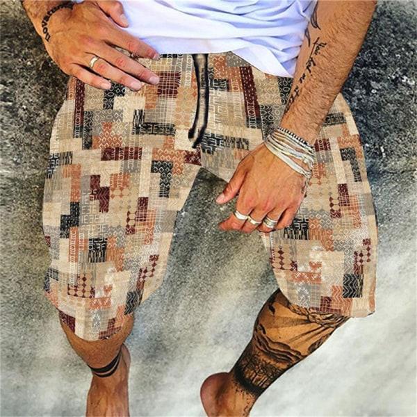 mode herrstrandshorts avslappnad elastisk tryckt bohemisk hawaii G L