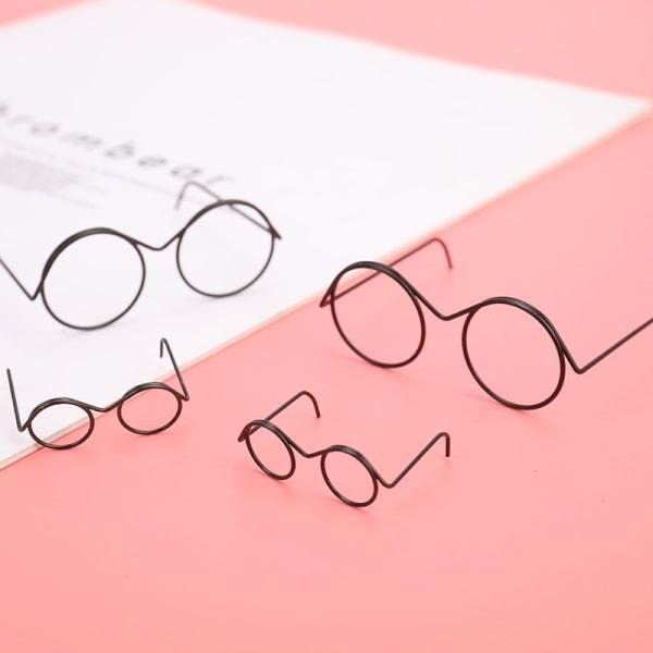 mode rund ram linsfria retro coola dockglasögon för docka ac A