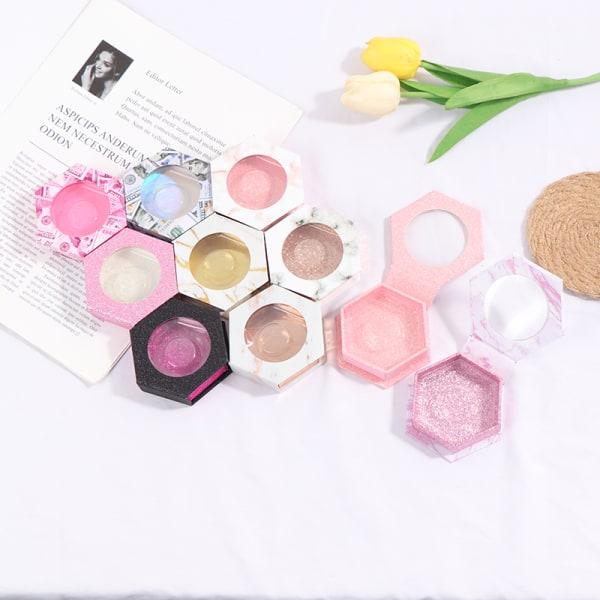 Flerfärgad Hexagon False Eyelash Packaging Lash Box Tom Case