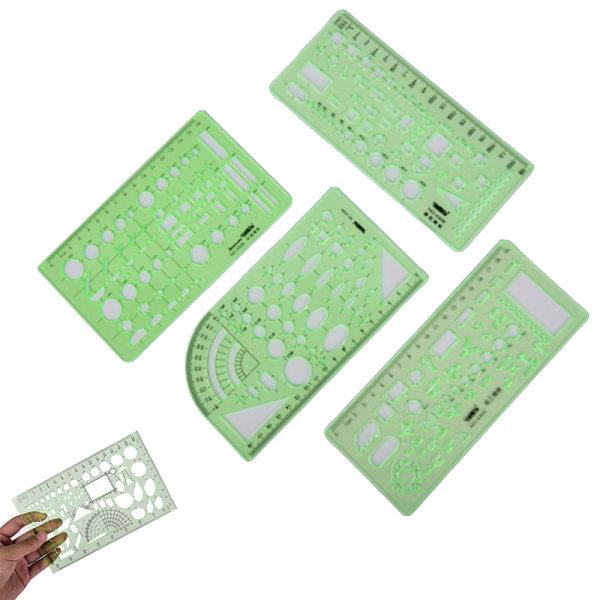 nya plastcirklar kvadrater geometrisk mall linjal stencil mea 8#