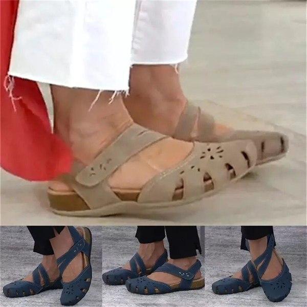 ortopediska öppna tå sandaler för kvinnor vintage halkskydd andas r Blue 35