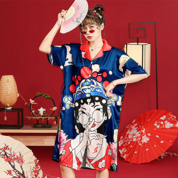 Peking opera ansikte nationella tidvatten vind is siden pyjamas