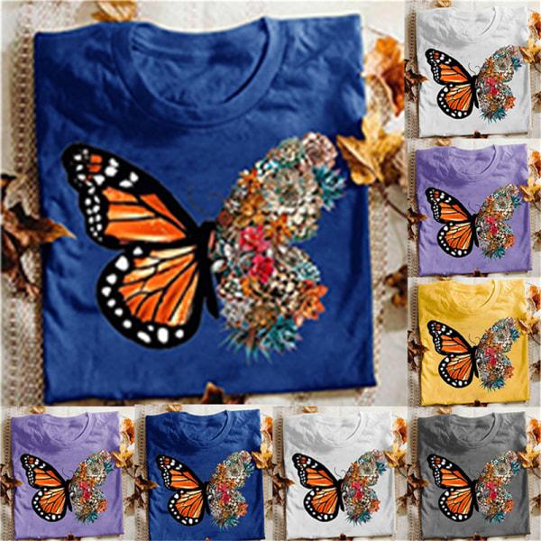 plus size tunika toppar 3d fjäril blommig t-shirt dam sho Yellow 2XL
