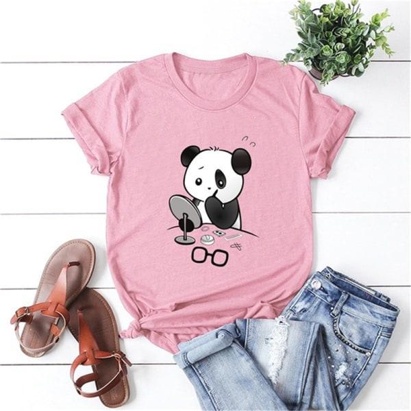 plus storlek kvinnor härlig panda tryck t-shirt o hals kort ärm t Green L