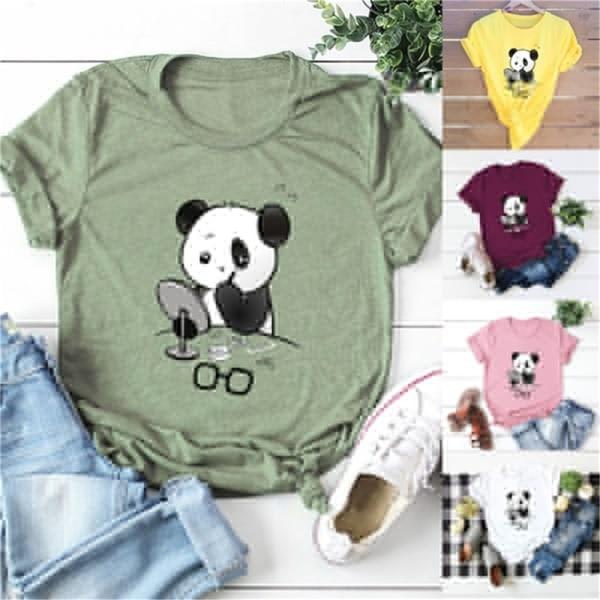 plus storlek kvinnor härlig panda tryck t-shirt o hals kort ärm t Yellow S