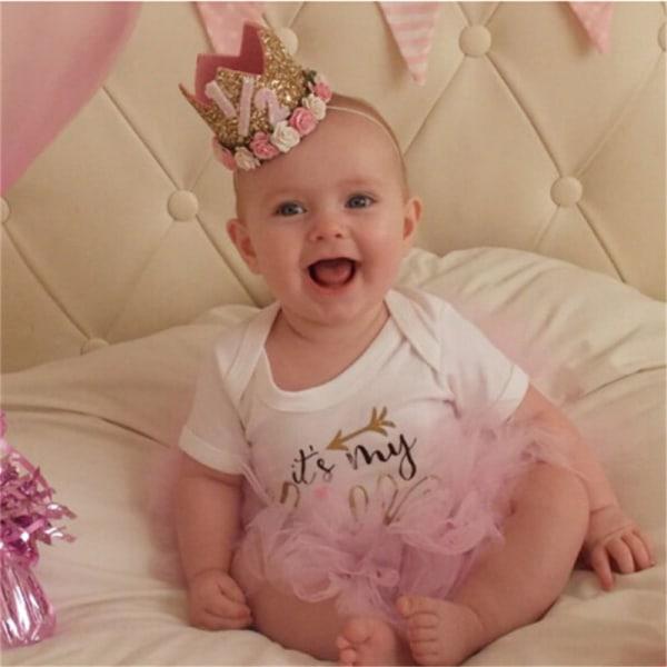 prinsessa baby flicka 1st födelsedag blomma kronparty ett och två ja C