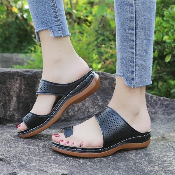 sandaler dam läder blommiga sandaler flats anti-slip flip-flops Brown 35