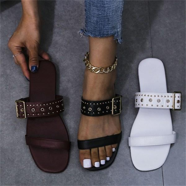 sandaler damspänne äkta utanför platta klackar tofflor Purple 42