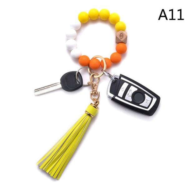 silikon nyckelring för nycklar tofs träpärlor armband nyckelring fo A11