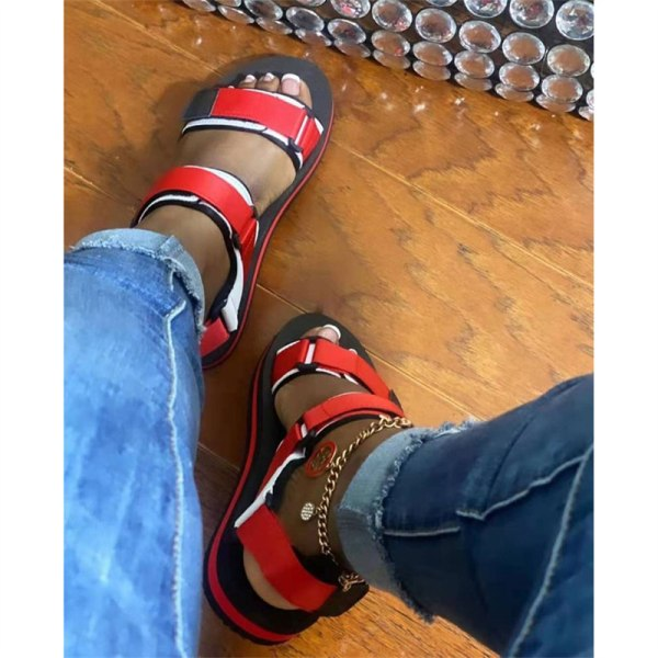 sommar dam sandaler kardborre skor öppna tå enkla utomhus leis Black 38