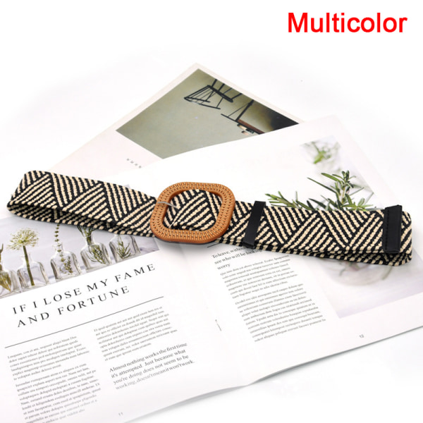 sommar kvinnor elastiskt vävt bälte fyrkantigt spänne vintage boho halm Multicolor