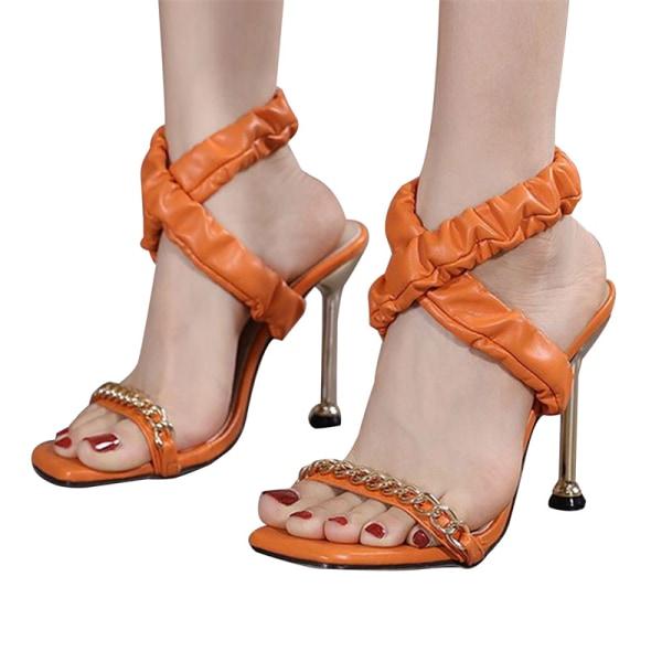 sommar plisserade dam sandaler metall högklackade sandaler öppen tå s Orange 43