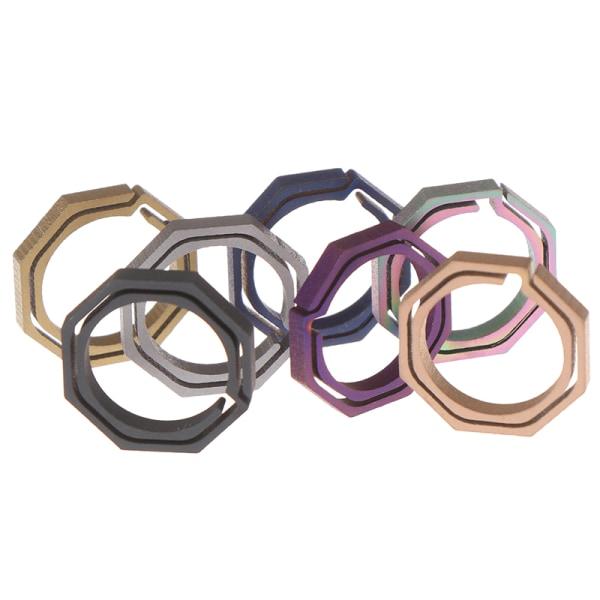 Titanium TC4 Ti nyckelring Octagon Hanging Buckle Key Ring CNC S