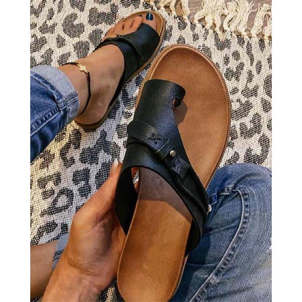 toffel kvinnor retro flip-flops tofflor platta halkskydd bea Black 38
