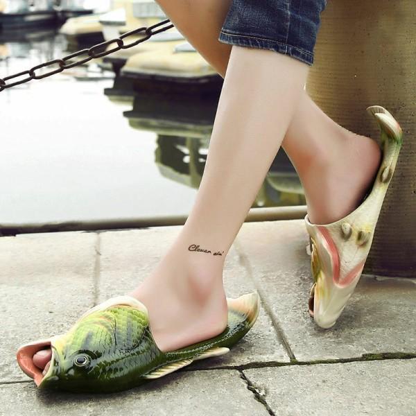 unisex kreativa fisk dusch tofflor roliga strandskor sandaler b Green 46-47
