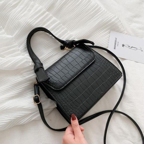 vintage krokodil mönster kvinnor messenger bag tote bag handväska s Black
