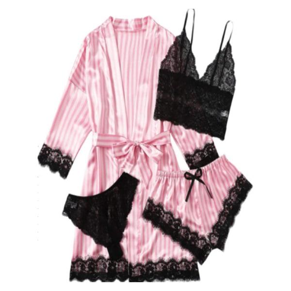 Pyjamas för kvinnor 4 delar Silk Satin Robe byxväst Shorts PA