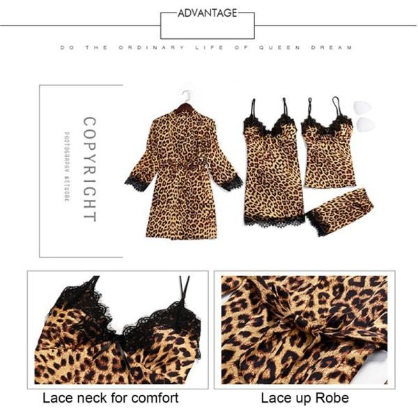 Kvinnors pyjamas leopard 4-delad pyjamasdräkt, nattklänning, suspe