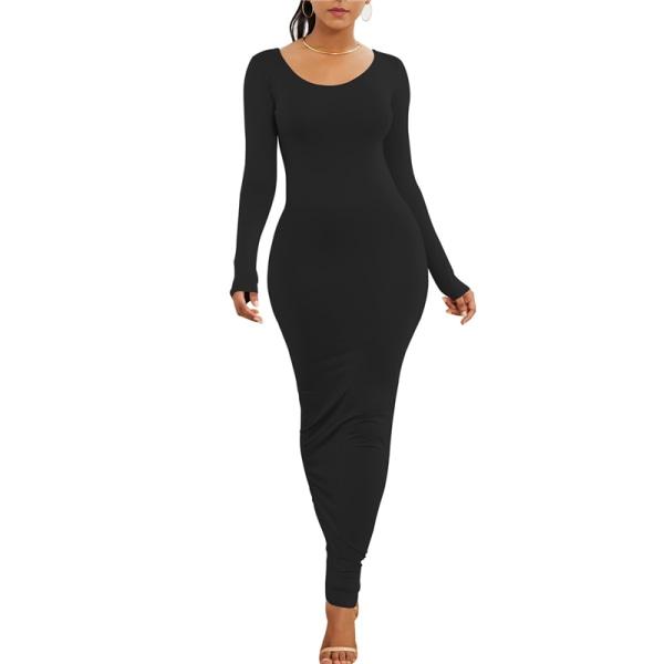 Kvinnors sexiga båtkrage långärmad tight klänning casual klänning