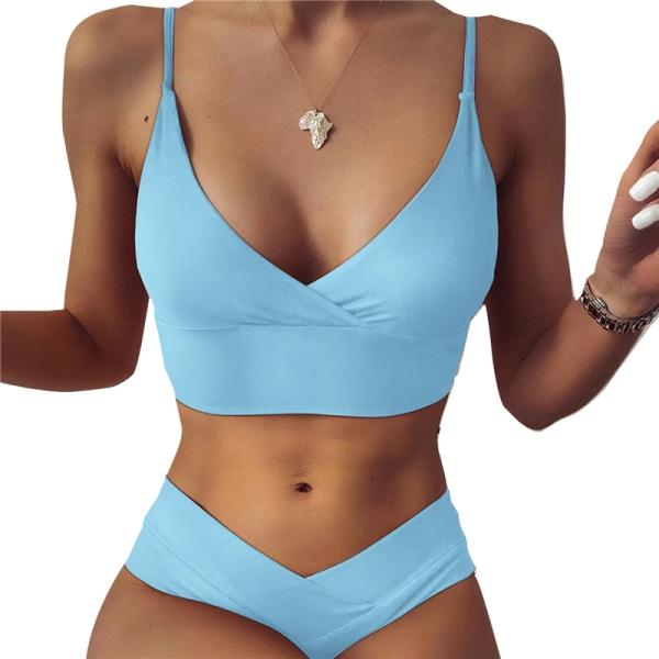 Dam sexig enfärgad V-ringad bikini 2 baddräkt