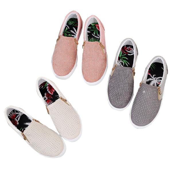 Kvinnor Sommar Sneaker Zip Slip på platta skor andas elastisk