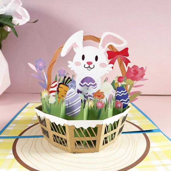 XIDAJIE Påskhälsningskort, Påskägg Bunny Flowers Card 3D