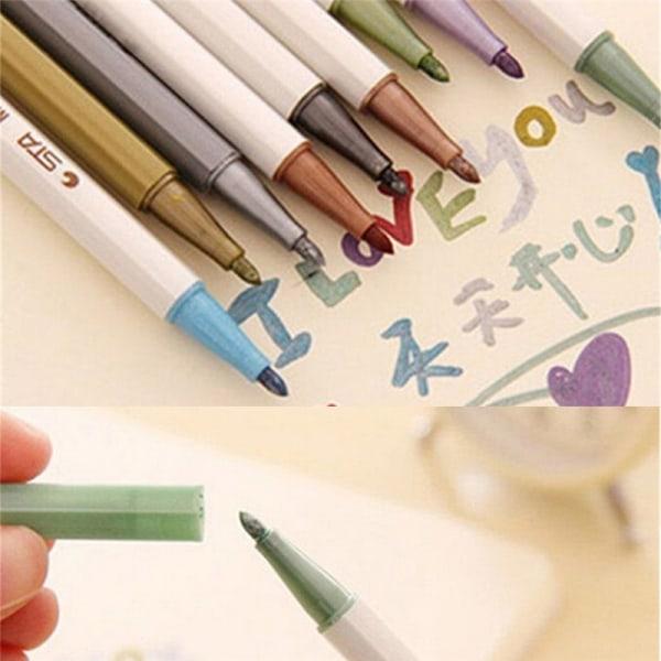 10st Color Metallic Fine Pen Pencil Marker DIY Album Dauber Pe