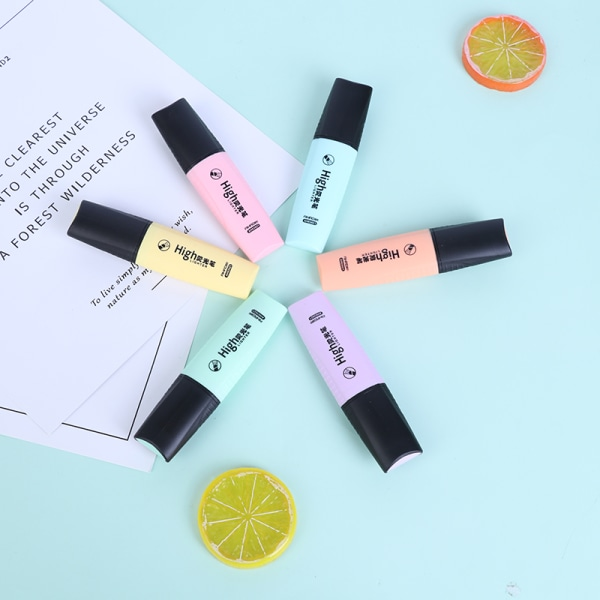 6 Macaroon Colors Mini Highlighters Pastellmarkers Enstaka text