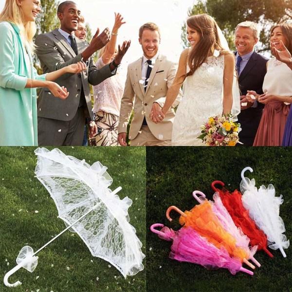 60 CM Kvinnor damer bomullsspets parasoll paraply brud bröllop P