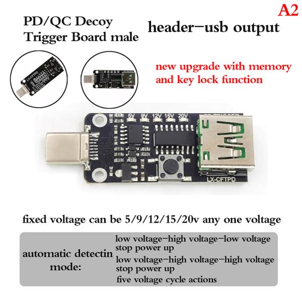 USB Type-C PD Decoy Trigger Board 9V 12V 15V Output PD 2.0 3.0 A2