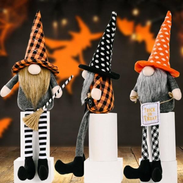 Halloween kvast dvärg docka hängande ben Rudolph ansiktslösa docka h A