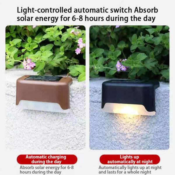 4st LED Solar Lamp Path Stair Outdoor Waterproof Wall Light Fe Black Warm light