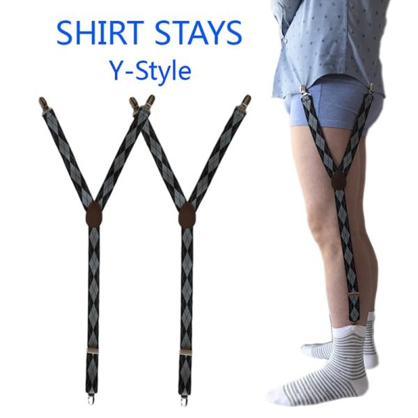 Mens skjorta förblir strumpeband Y-form Justerbar elastisk skjortrem