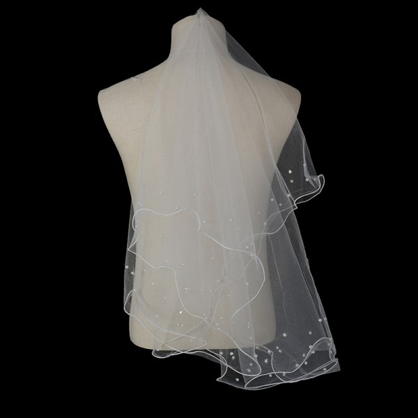 Ny enkel bandkant bröllopslöja med pärlor Kort brud Vei