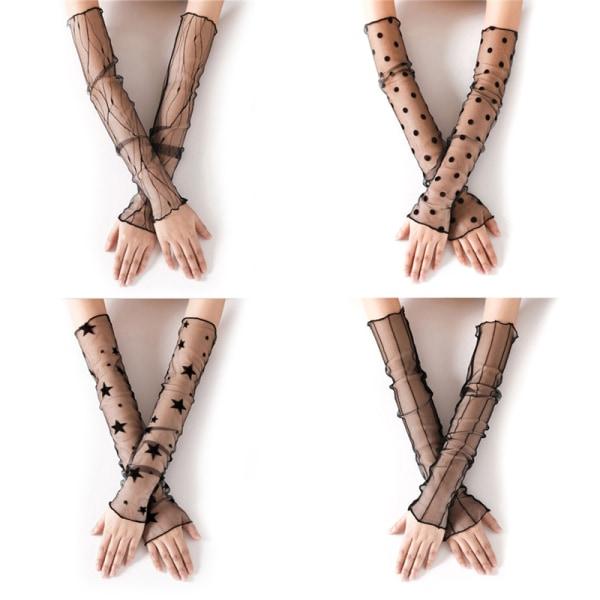 Sexiga kvinnor linje Lady Lace Flower Fashion Shading Long Fingerles