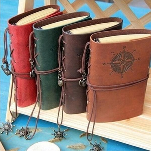 Vintage klassisk retro läder journal resebok anteckningsbok B