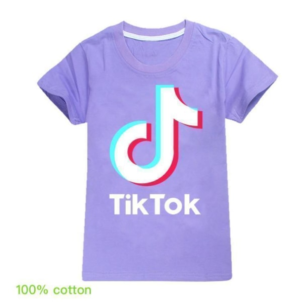 Tik-Tok tonåring fasion T- Shirt Kortärmad LightPink Mörkrosa 140