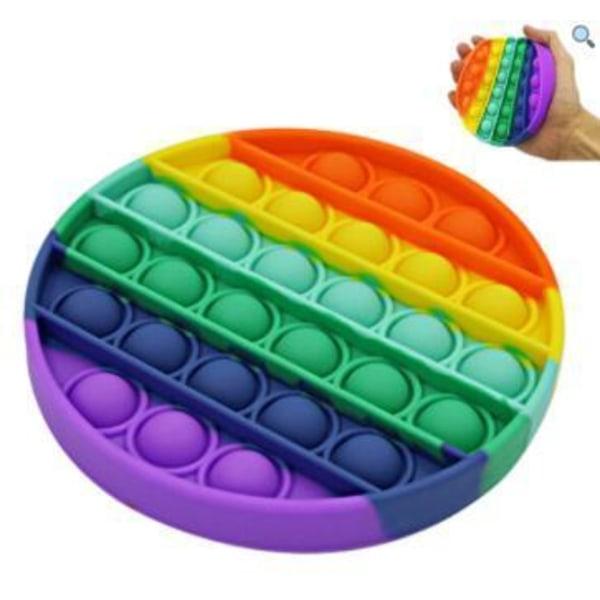 2 kpl Popit Fidget Pop It Rainbow Round - CE -hyväksytty