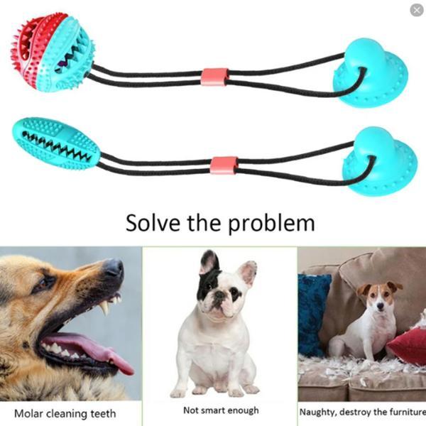 Multifunktionel hundekat sikker elastisk rengøring af tænder Pink Pink and Blue Boll Model