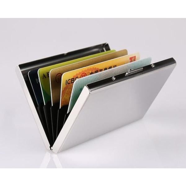 Korthållare med fack - Skyddar RFID - metall - plånbok - Silver Silver