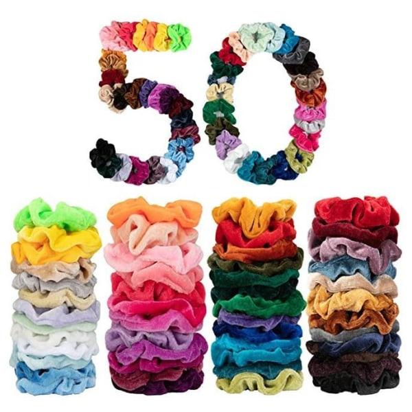 50-pack Scrunchies Hårbånd | Fløjl | Hårfletninger |