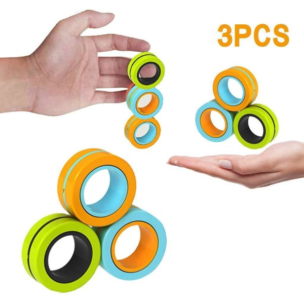 Magnetiske ringe / Fidget legetøj - Magnetiske bolde - (3 -pack)