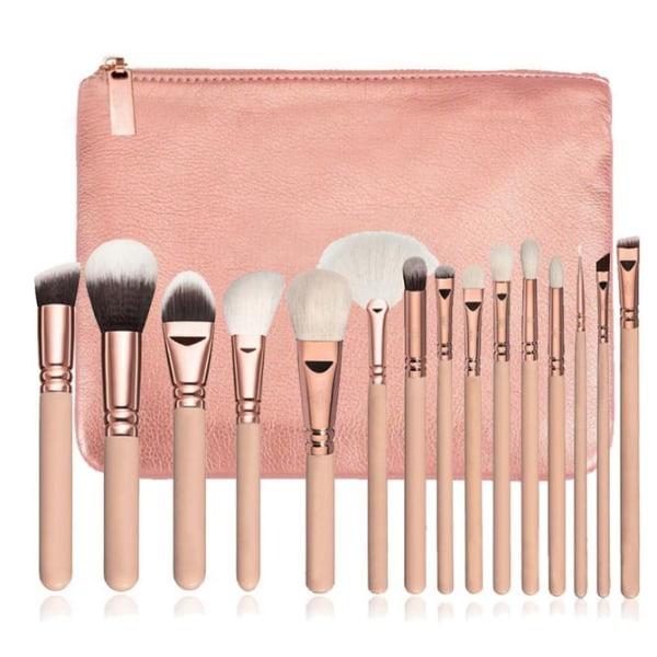 15 stk Professionelle makeupbørster med stilfuld opbevaring PINK