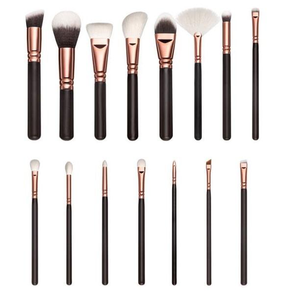 15 stk Professionelle makeupbørster med stilfuld opbevaringsbrun