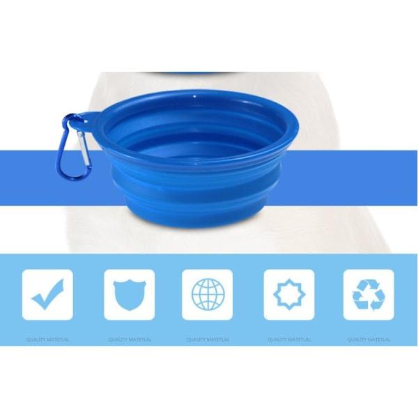 Hund Skålar & Vattenflaskor Silikon Bärbar Vikbar Blå Modell 1--350ML