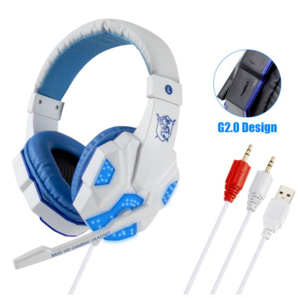 Professionell Gamer Headset för Dator och PS4 vit vit