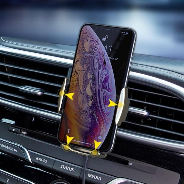 FLOVEME Qi Snabb trådlös mobilladdare med bilmonterad  silver silver